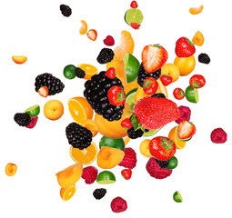 Wall Mural - Fresh fruit pieces mix, isolated on white background