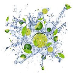 Deurstickers Opspattend water Limes pieces in water splash, isolated on white background