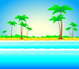 beautiful summer beach with sun, palm and sea