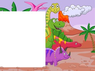 Photo sur Plexiglas Dinosaurs Dinosaur cartoon with blank sign