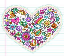 Love Heart Groovy Notebook Doodle Vector Set