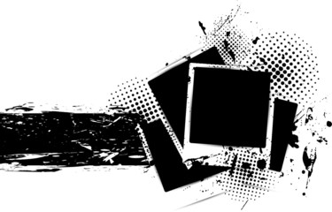 Grunge background with photo frames