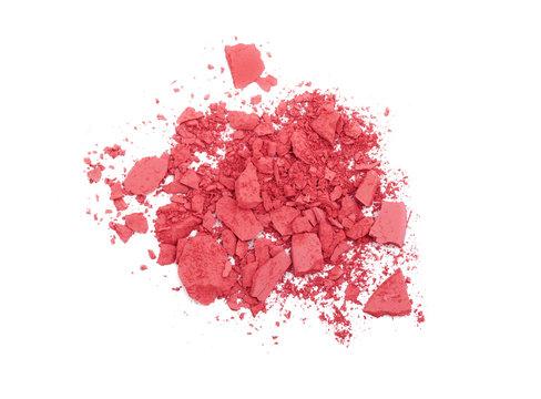 Pink crashed blush isolated on white