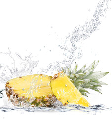 Printed kitchen splashbacks Splashing water ananas splash