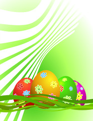 Easter eggs with ornament, vector illustration