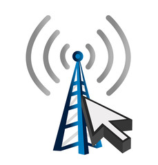 Blue wireless technology tower and cursor illustration design