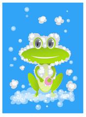 cute bathing frog