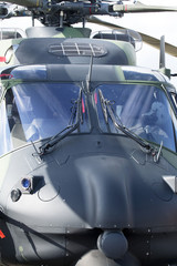 Closeup of the military helicopter cabin.
