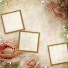 Frames on Grunge beige wedding background