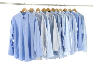 clothes hanger with blue shirt