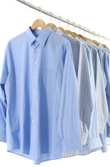 Assorted blue dress hanging on wooden hangers