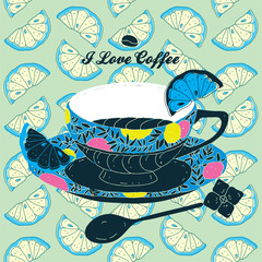 Vector Elegant Coffee Card Illustration With Spoon and Lemons