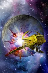 spaceship warp and moon