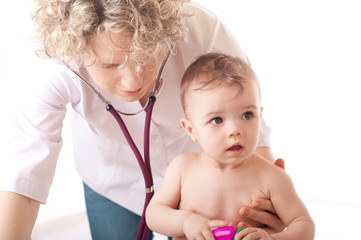 Doctor and baby patient.