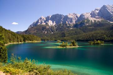 Insel klein See Eibsee Bergsee Traum Idylle blau Wall mural