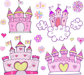 Super Cute Castle Vector Illustration Set