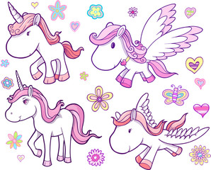 Unicorn and Pegasus Vector Set