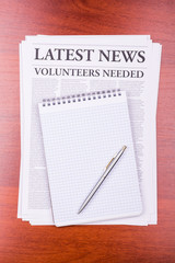 The newspaper VOLUNTEERS NEEDED
