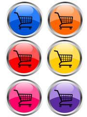 Six E-commerce glossy icons