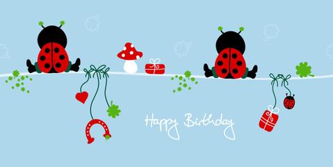 "2 Sitting Ladybugs & Symbols ""Happy Birthday"" Blue"