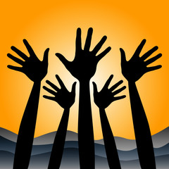 Positive hands at sunrise vector.