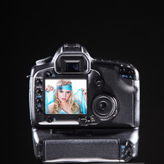 Megapixel Kamera Gehäuse Rückteil mit Beauty Frau