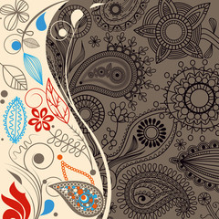 Floral paisley background, retro border