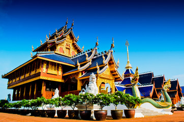 Architecture style in temple at Northern Thailand.