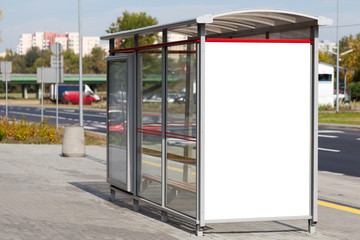 Blank billboard on bus stop useful for your advertising