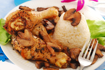 chicken legs with mushrooms and rice
