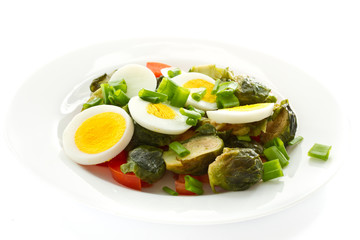 Brussels sprouts salad with eggs