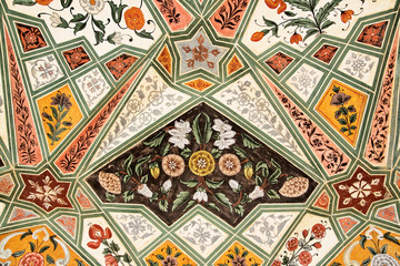 Poster - Detail of decorated gateway. Amber fort.  Jaipur, India