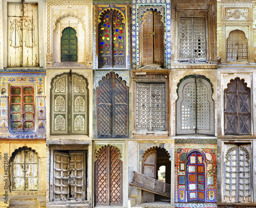 Fototapete Collage of the ancient Indian doors