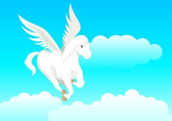 Fotobehang Pony Cartoon illustration of a pegasus