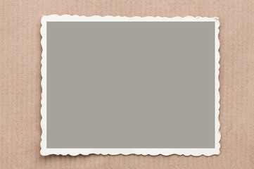 old, blank picture on gray cardboard background