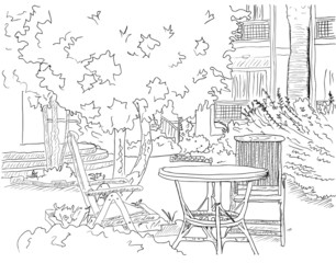 Papiers peints Drawn Street cafe Cafe in the Garden