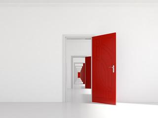 Hallway with many doors