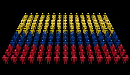 abstract people in colours of Colombia flag illustration