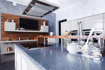 interior of modern kitchen in luxury mansion