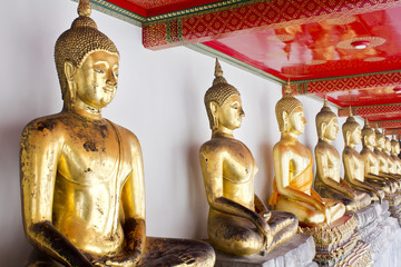 Buddha statue in Wat Pho Temple sequential, Bangkok, Thailand