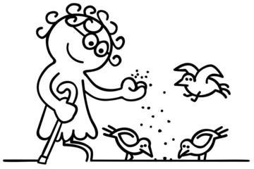 figur seniorin füttert tauben