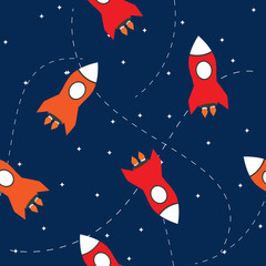 Seamless vector pattern of the rocket in space