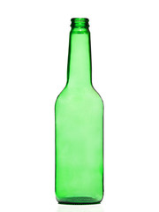 green and glass bottle isolated on a white background