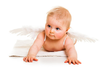 Cute infant angel with wings isolated on white