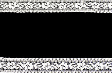 Vintage lace with flowers on black background