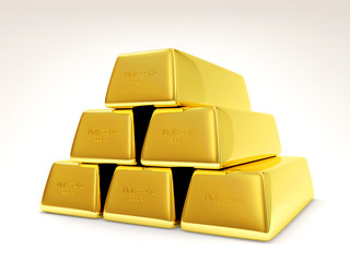 Pyramid from Golden Bars on white background
