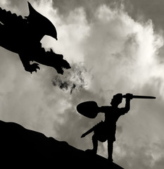 Foto op Canvas Ridders Medieval knight fighting the dragon