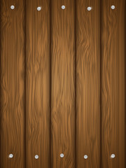 Wooden texture with nails. Vector illustration.