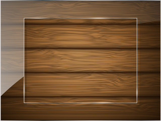 Wooden texture with glass. Vector illustration.