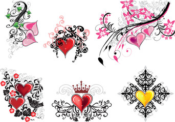 collection of floral elements with hearts